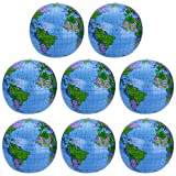 Pangda 8 Pack Inflatable Globe PVC World Globe Inflatable Earth Beach Ball for Beach Playing or Teaching, 16 Inch