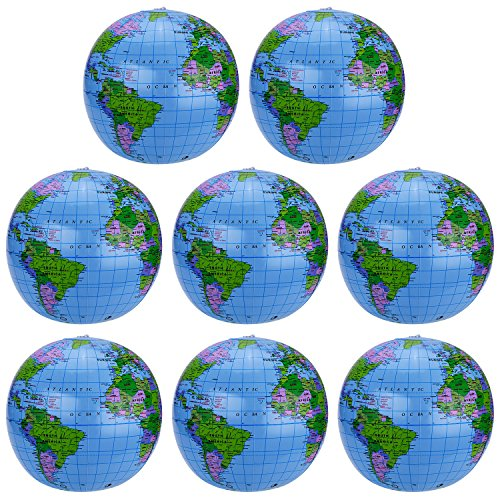 Pangda 8 Pack Inflatable Globe PVC World Globe Inflatable Earth Beach Ball for Beach Playing or Teaching, 16 Inch ()