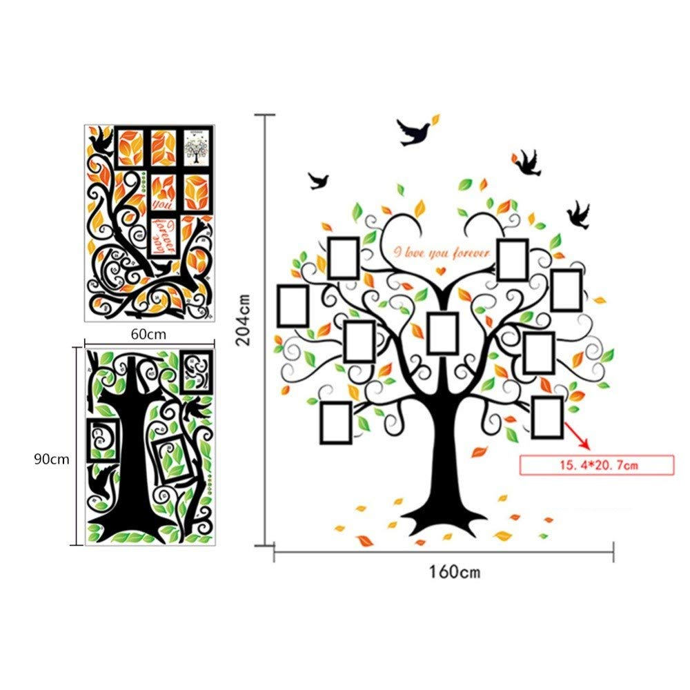 Family Tree Wall Decal - 9 Large Photo Picture Frames - Peel and Stick Wall Decal - Best Removable Wall Decal for Living Room, Bedroom, Kids Rooms, Mural Decor - 80'' Wide x 63'' Tall by GoGoDecal (Image #8)