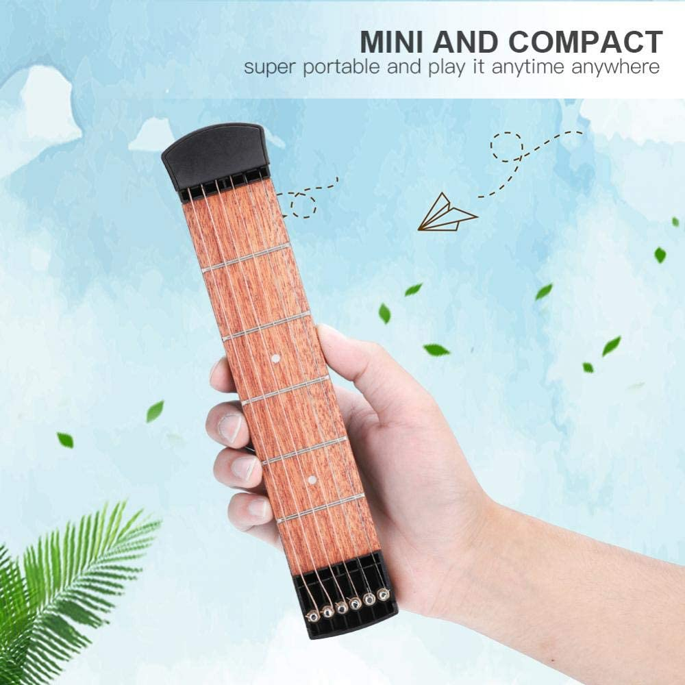 Pocket Guitar Practice Neck Portable 6 Fret Guitar Mahogany Fingerboard Chord and Scales Exercise Tool for Beginner Practice Training 51WVXeAkuxL