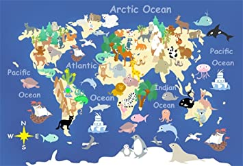 Amazon.com: lfeey 5 x 3ft Cartoon Kids mapa fotografía telón ...