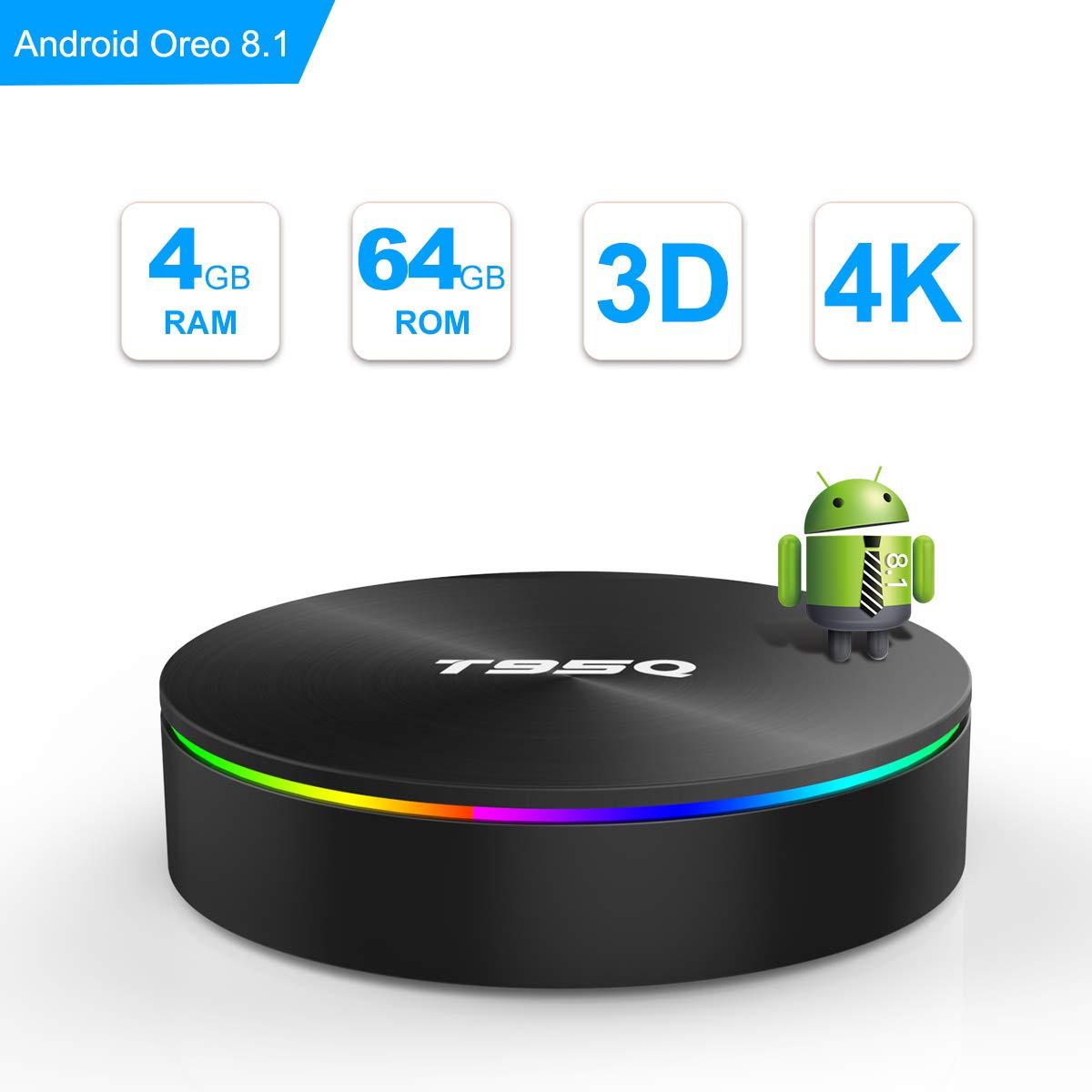 SIDIWEN T95Q Android 8.1 TV Box con 4GB RAM 64GB ROM Amlogic S905X2 Bluetooth4.1 2.4 / 5.0G WiFi Quad Core 64 bits H.265 3D UHD 4K Smart Internet TV Box Junrui