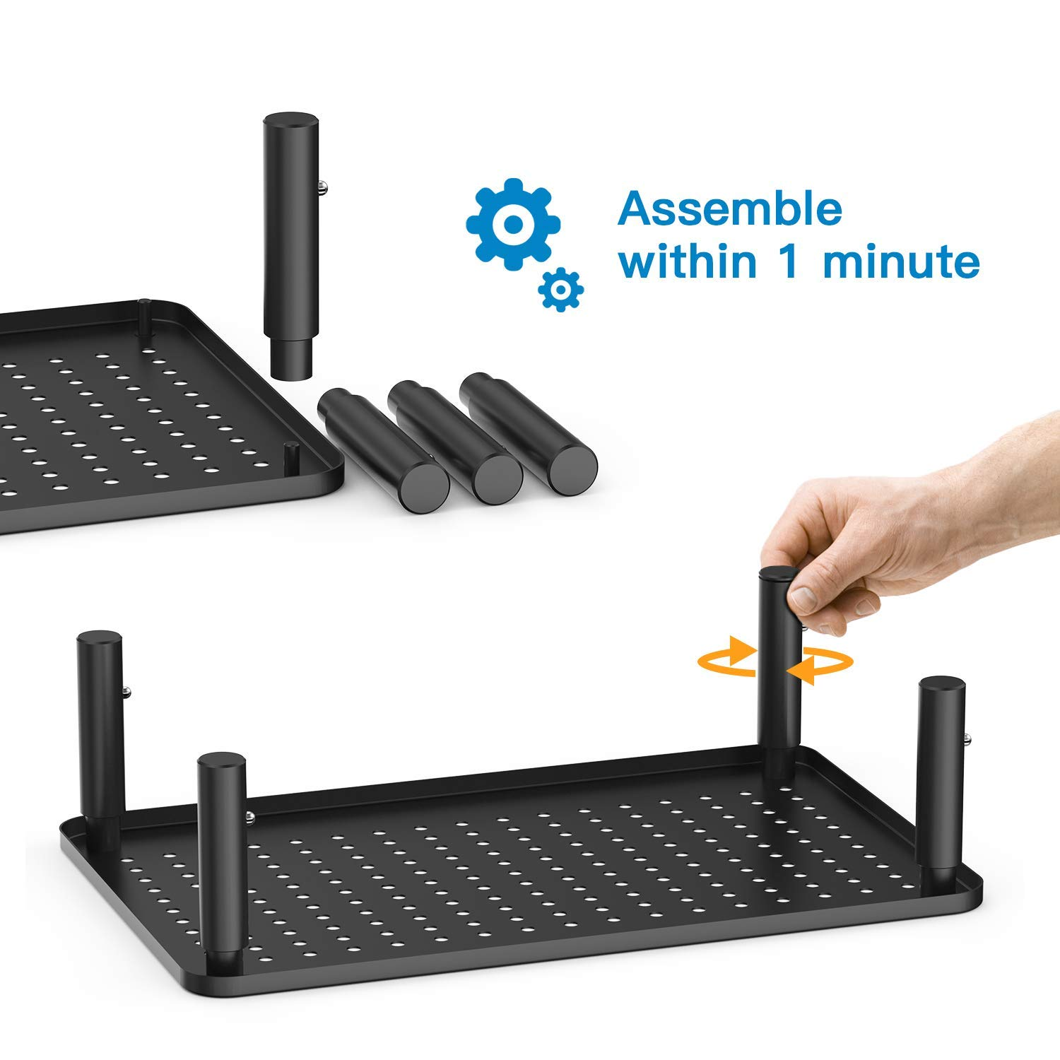 Monitor Stand Riser - 3 Height Adjustable Monitor Stand for Laptop, Computer, iMac, PC, Printer, Desktop Ergonomic Metal Monitor Riser Stand with Mesh Platform for Airflow by HUANUO (2 Pack) by HUANUO (Image #3)