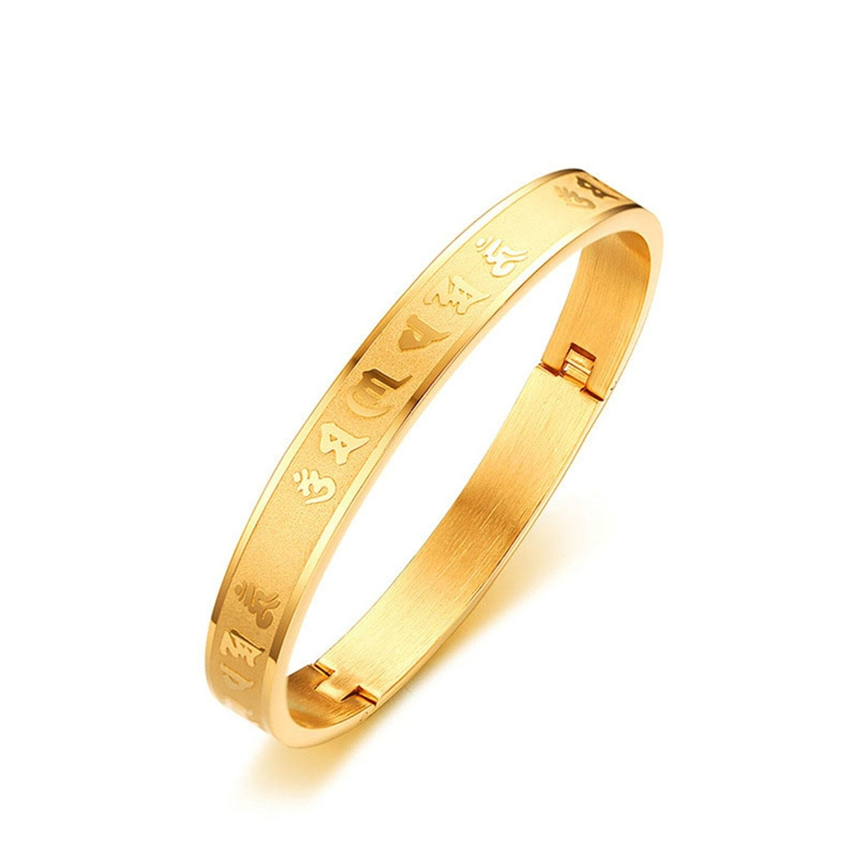 LexBu Women Bracelets Stainless Steel Om Mani Padme Hum