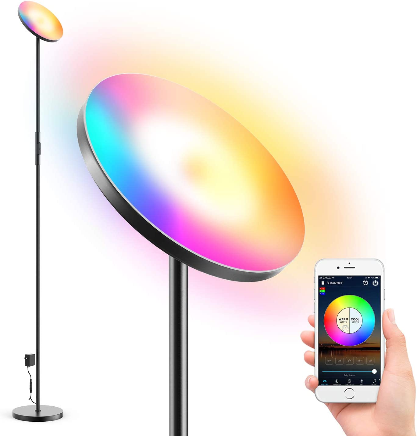 Isenjo Smart WiFi LED Floor Lamp,Super Bright RGB Dimmable Color Changing Smart Standing Lamp, Touch & APP Control, Works with Alexa Google Home, for Living Room Bedroom Office,Adjustable Head - Black
