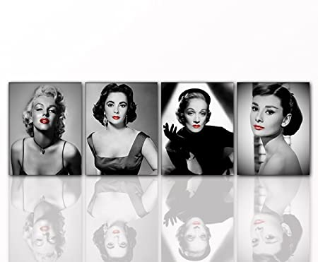 Wall Picture DIVEN 4x Audrey Hepburn Red Lips On Canvas And Wooden Stretcher Frame 40 X