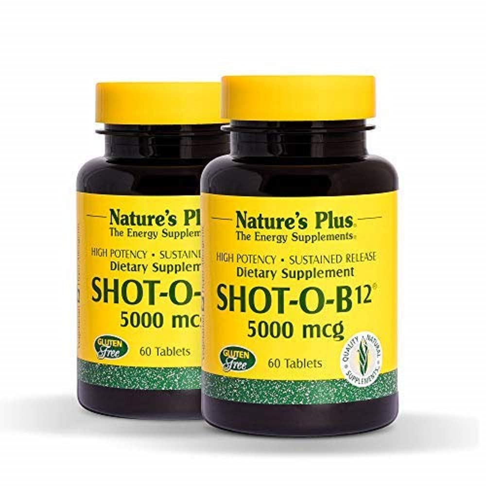 NaturesPlus Shot-O-B12 (Methylcobalamin), Sustained Release 2 Pack - 5000 mcg, 120 Vegetarian Tablets - High Potency, Fast Acting B12 Supplement - Memory & Energy Booster - Gluten-Free - 120 Servings