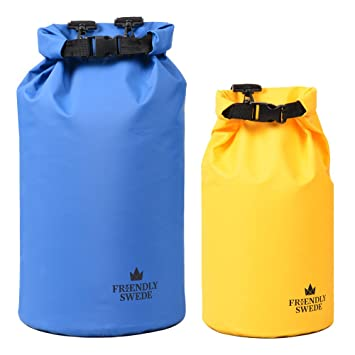 The Friendly Swede Bolsa Estanca en PVC 500D 2L/5L/10L/20L - Bolsa Seca - Dry Bag - Mochila/Bolsa Impermeable - Rafting Kayak Pesca Natación Playa ...