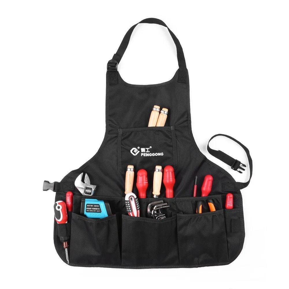 T-Trees Professional Canvas Work Apron with 14 Tool Pockets, Fully Adjustable, Waterproof & Protective, Black
