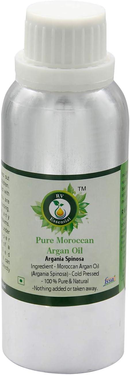 R V Essential Aceite puro de argán marroquí 630ml (21oz)- Argania Spinosa (100% puro y natural Prensado en frío) Pure Moroccan Argan Oil
