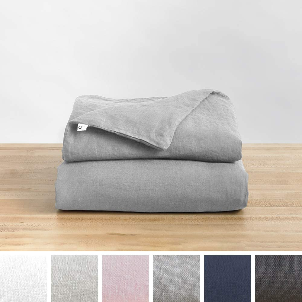 Baloo Removable Duvet Cover for Weighted Blankets - Soft, Premium, Breathable French Linen in Dove Grey Color (42 x 72 Inches)