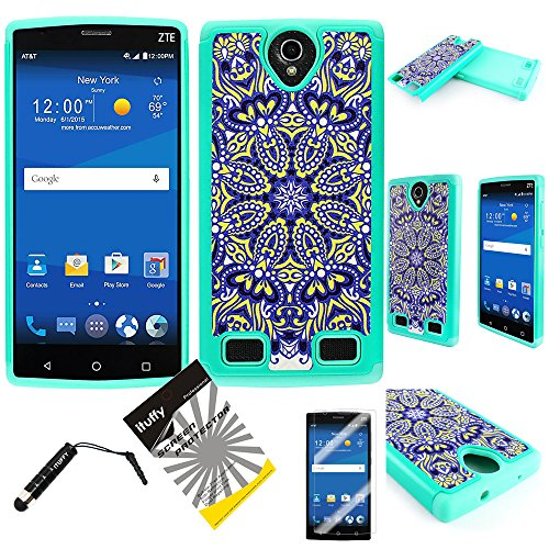For ZTE ZMAX 2 Z995L Z958L ITUFFY (TM) 3items Combo: Screen Protector + Stylus Pen + Dual Layer Impact Resistance Hybrid Armor Case (Yellow Blue Sun Flower)