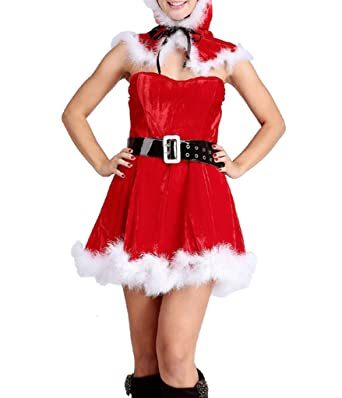 1ad091be339f COMVIP Women Sexy Santa Costume Christmas Party Fancy Dress Cosplay Suit Red:  Amazon.co.uk: Clothing