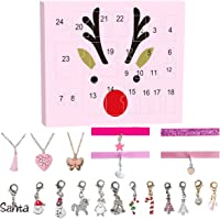Advent Calendar Countdown to Christmas with DIY Pandora Beads Charms Jewelry Bracelet Set, Green (Chocker)