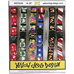 "Yellow Dog Design Seasonal Dog Collar Calendar Pack with Tag-A-Long-Medium-3/4"" Wide and fits Neck 14 to 20"""