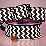 1-1/2'' X 20YD BLACK CHEVRON SATIN WIRED RIBBON