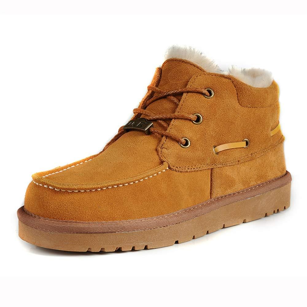Qiusa Pelz gefütterte Outdoor Schnürstiefel für Männer aus echtem Leder Rutschfeste atmungsaktive Stiefel (Farbe   Gelb, Größe   EU 42)