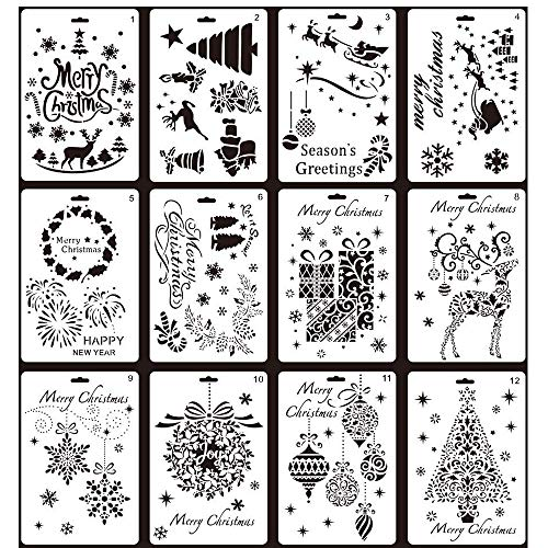 Christmas Painting Stencils,12 pcs Creative Christmas Trees/Reindeer Boots Angel/Snowflake Snowman Santa Claus Bullet Journal Stencil Set for Journali ()