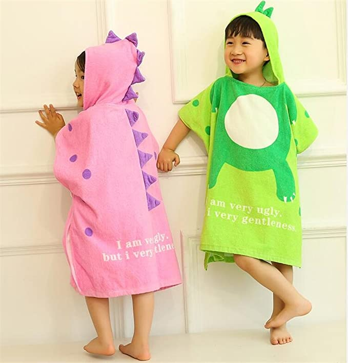 Amazon.com: Shower Cloth Bath Linen Cartoon Dinosaur Children Bathrobe Cloak Bath Towel Baby Swimwear Hooded Bathrobe (Color : Lavender, Size : M): Home & ...