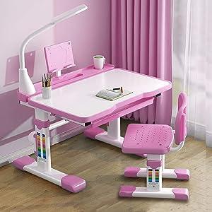 Kids Desk and Chair Set for Study Writing Painting,Height Adjustable Child Desks with Eye Protection LED Lamp Reading Shelf Tilted Desktop Hook Blue/Pink