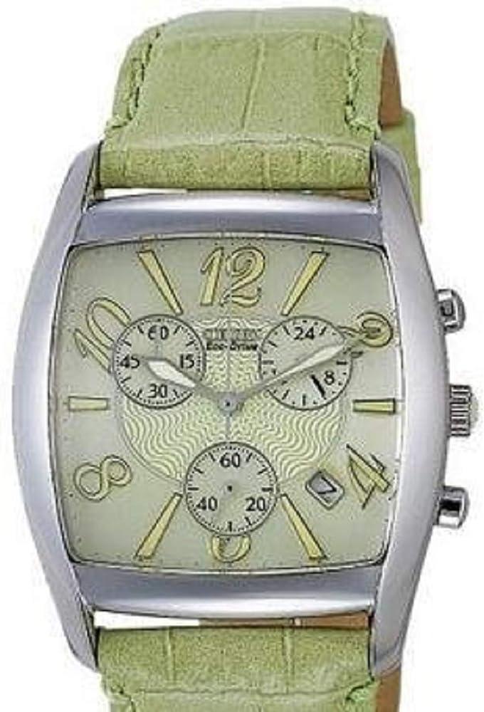 Reloj Mujer Eco-Drive crono, Caja de Acero, Esfera Marfil con números Blancos, Correa de Piel Verde.: Amazon.es: Relojes