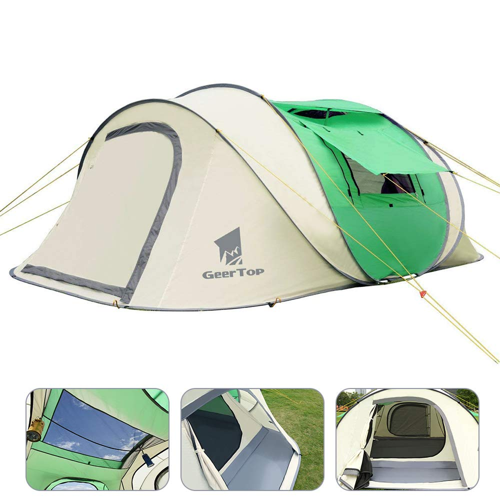 GEERTOP 3-5 Person Portable Instant Pop-up Camp Shelter Zelt für Outdoor Beach Camping