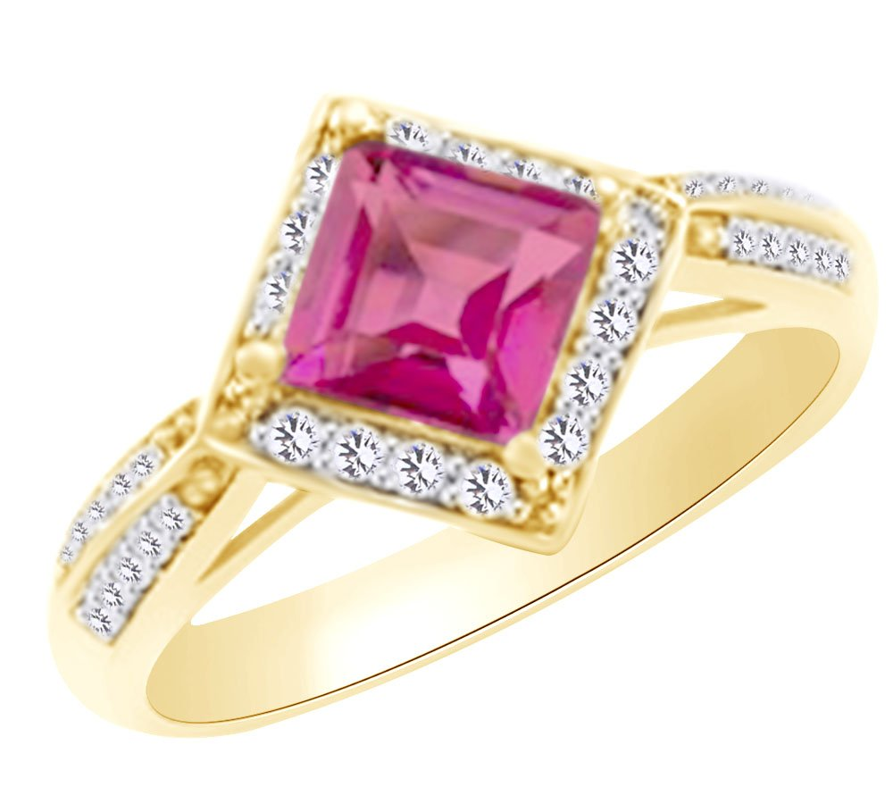 AFFY (1.6 cttw) Simulated Pink Sapphire & White Natural Diamond ...