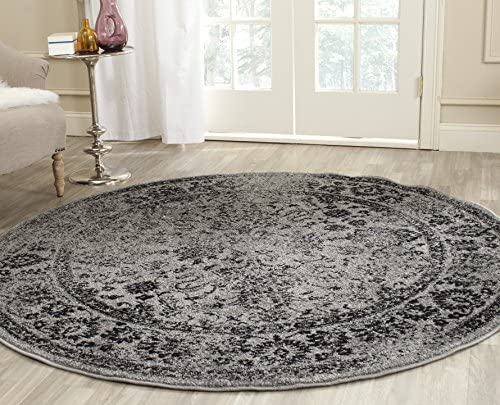 Safavieh Adirondack Collection ADR109B Grey/Black Vintage Oriental Distressed Area Rug 4' Round
