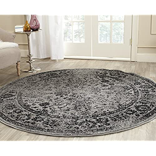 Safavieh Adirondack Collection ADR109B Grey And Black Oriental Vintage  Distressed Round Area Rug (4u0027 Diameter)