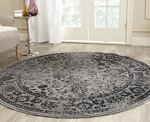 Safavieh Adirondack Collection ADR109B Grey and Black Oriental Vintage Distressed Round Area Rug (4' Diameter)]()