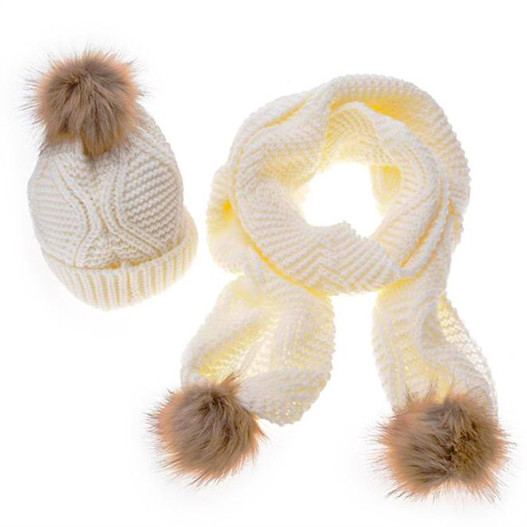 Lady Bonnets Bonnet Fourré Hiver écharpe + Pour Femme Bonnet Tricoté et Gros Pompon, 2 pcs / ensemble (taille libre, blanc) Quistal
