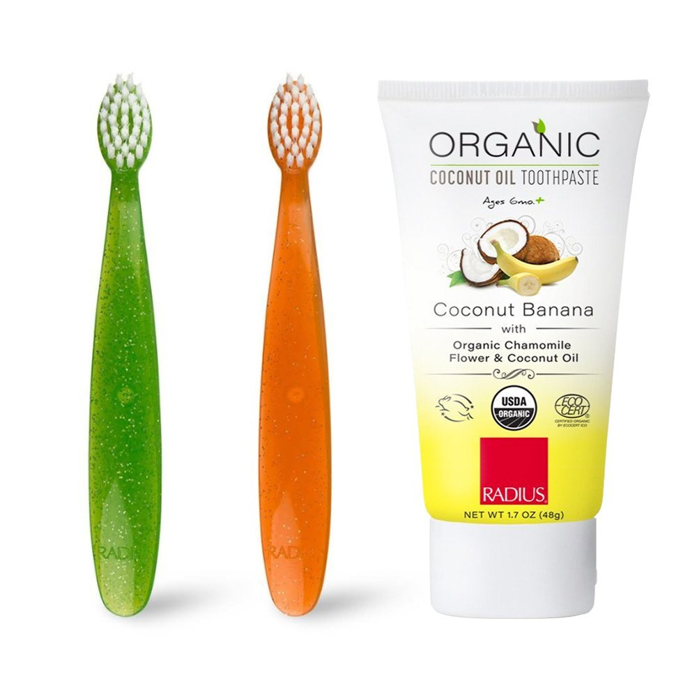 RADIUS - Totz Kid's Toothbrush Kit, Designed for Small Teeth and Gums, Organic, Vegan and BPA Free (1 Green Toothbrush, 1 Orange Toothbrush, 3 oz Coconut Banana Toothpaste)