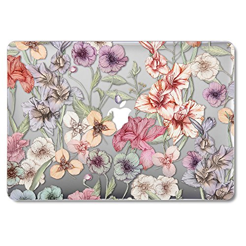 GMYLE MacBook Air 13 Inch Case Older Version Compatible A1369/A1466 2008-2017 Release NO Touch ID, Hard Plastic See Through Glossy Scratch Guard Cover for Apple Mac Air 13 - Floral Garden Pattern