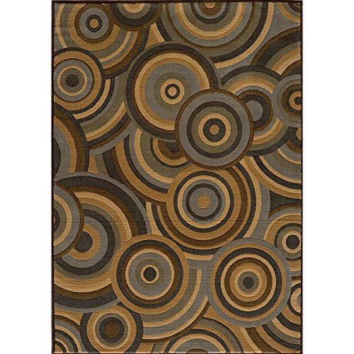 [Momeni Illusion Power-loomed Concentric Circles Blue Rug (3'11 x 5'7)] (Illusion Power Loomed Circles)