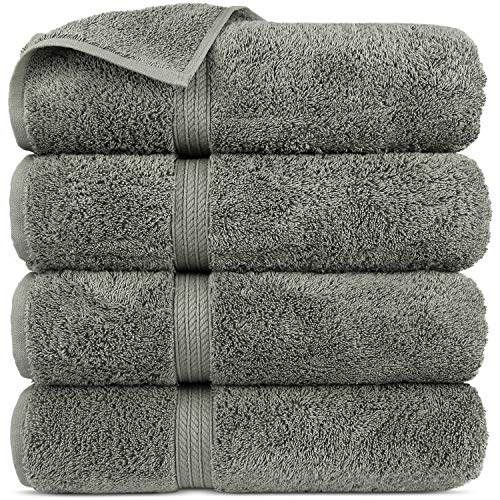 Premium Turkish Cotton 4-Striped Border Eco-Friendly and Long Stable Bath Towel (Gray, Set of 4) (Extra Towels Bath Long)
