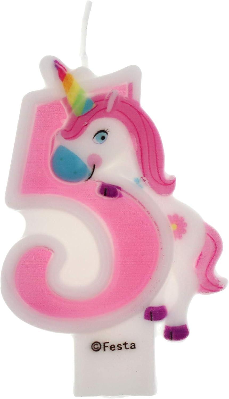 Velas de Cumpleaños Diseño Unicornio de 9cm, Adecuadas para fiesta de Cumpleaños para Niños Niñas Color Rosa blanca Numero 5