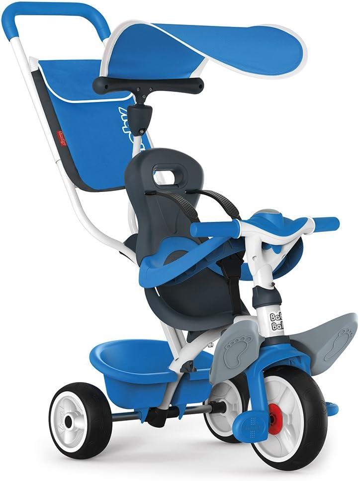 Triciclo Baby Balade 2 azul con volquete y ruedas silenciosas (Smoby 741102)