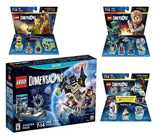 Lego Dimensions Starter Pack + Portal 2 Level Pack + Scooby Doo Team Pack + Jurassic World Team Pack for Nintendo Wii U Console by WB Lego