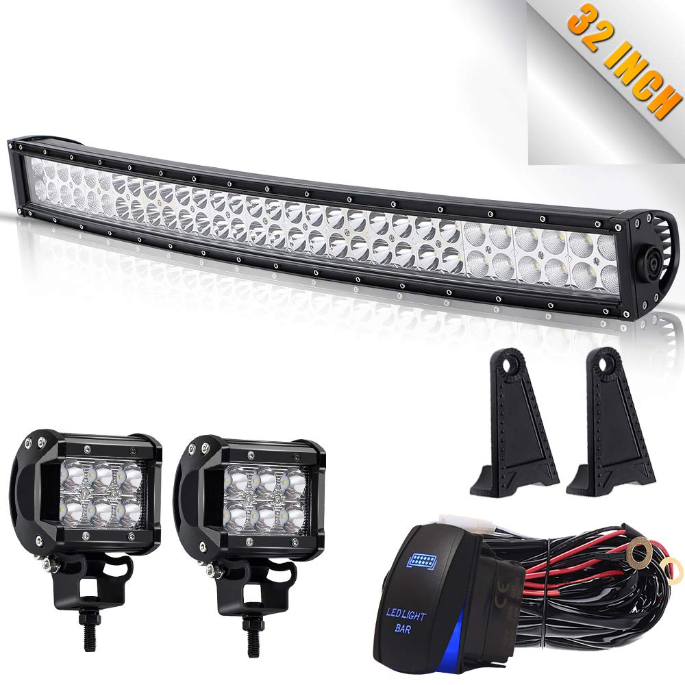 Led Light Bar TURBOSII 32' Curved light bar Off Road Light Driving Light + 4' Led Work Light Cube Pods For Truck Jeep Boat lamps SUV cars