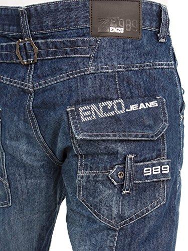 ENZO Herren EZ243 EZ244 Reguläre Passform Gerades Bein Klassisch Blau Jeans Jeans Größen 28-48 - Helle Waschung, W40 x Regulär
