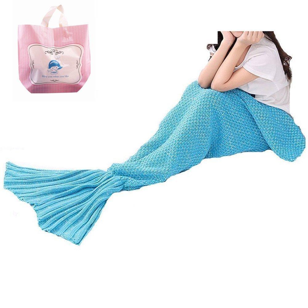 Mermaid Blanket,FYHAP Mermaid Tail Blanket Soft All Seasons for Kids,Sofa Quilt Living Room Super Sleeping Bags(Kids Blue)