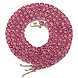 JINAO 18K Gold Plated 1 Row 4MM Diamond Iced Out Chain Macro Pave CZ Hip Hop Tennis Necklace (Red 18'' Chain)