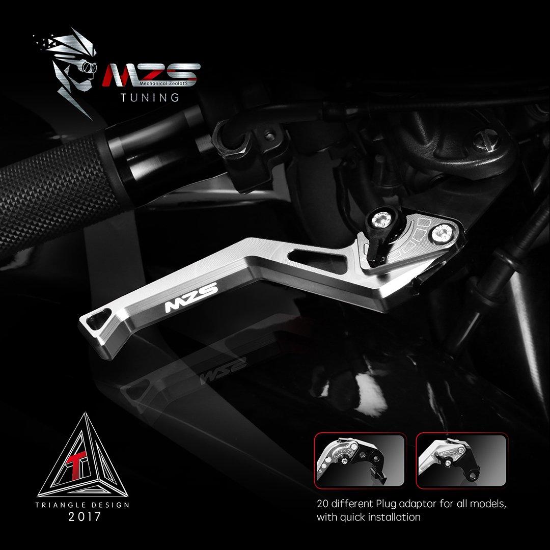 MZS Short Levers Adjustment Brake Clutch compatible Honda CMX 300 500 Rebel 2017-2018// Fury VTX1300CX 2009-2018// VT750 Phantom Shadow 2010-2017// NC750S NC750X 2014-2015// Black Spirit 2014-2016 Silver