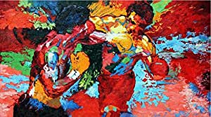 "Decor 20""X35""Inch Repro By Leroy Neiman (Rocky Vs Apollo) Sports Movie Poster Custom Art Print"