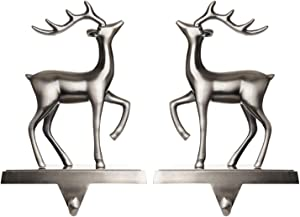 Klikel Christmas Reindeer Stocking Hanger for Mantle - Set of 2 - Silver Metal Deer Stocking Holder with Hook