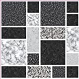 LPS Pack of 10 Black grey stone effect multi Mosaic tile transfers stickers bathroom kitchen stick on tile peel and stick on wall tile
