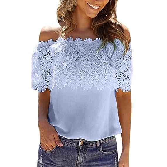 Blusa casual de mujer, mujeres atractivas del hombro Tops casuales Blusa de encaje