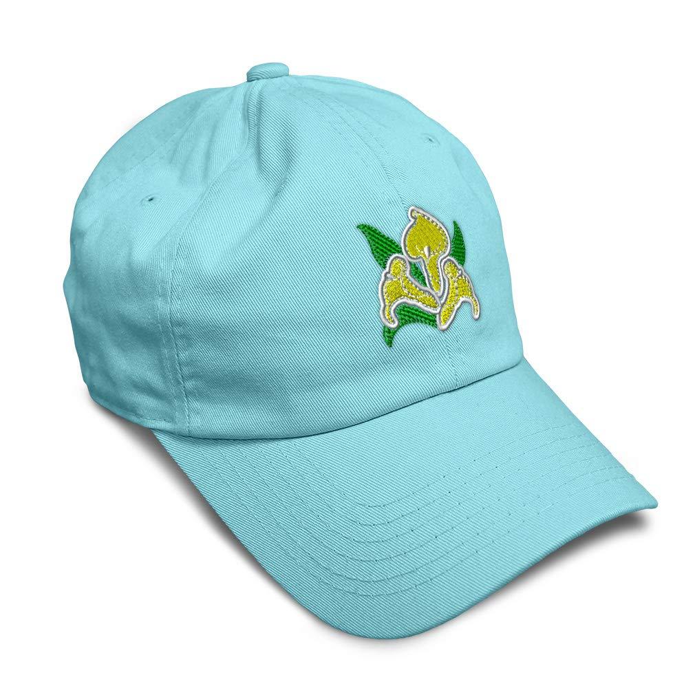 Custom Soft Baseball Cap Flower Calla Lilies B Embroidery Twill Cotton