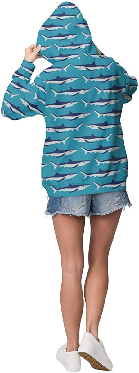 Womens Hoodie Sweatshirt Pullover Blue Sharks On Parade Casual Hooded Tops