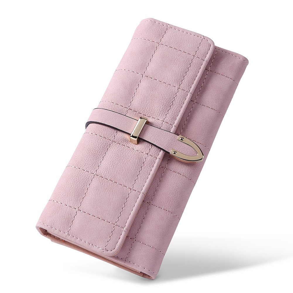Wallet for Women Leather Large Capacity Trifold Checkbook Card Holder Organizer with Snap Closure Ladies Clutch pink